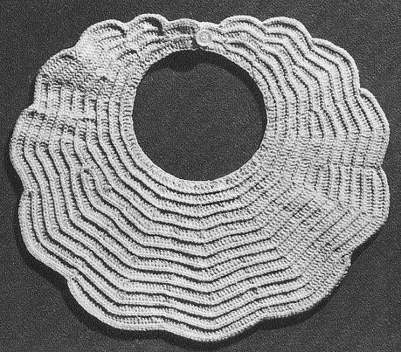 1951 Scalloped Baby Bib Vintage Crochet Pattern Pdf By Annalaia