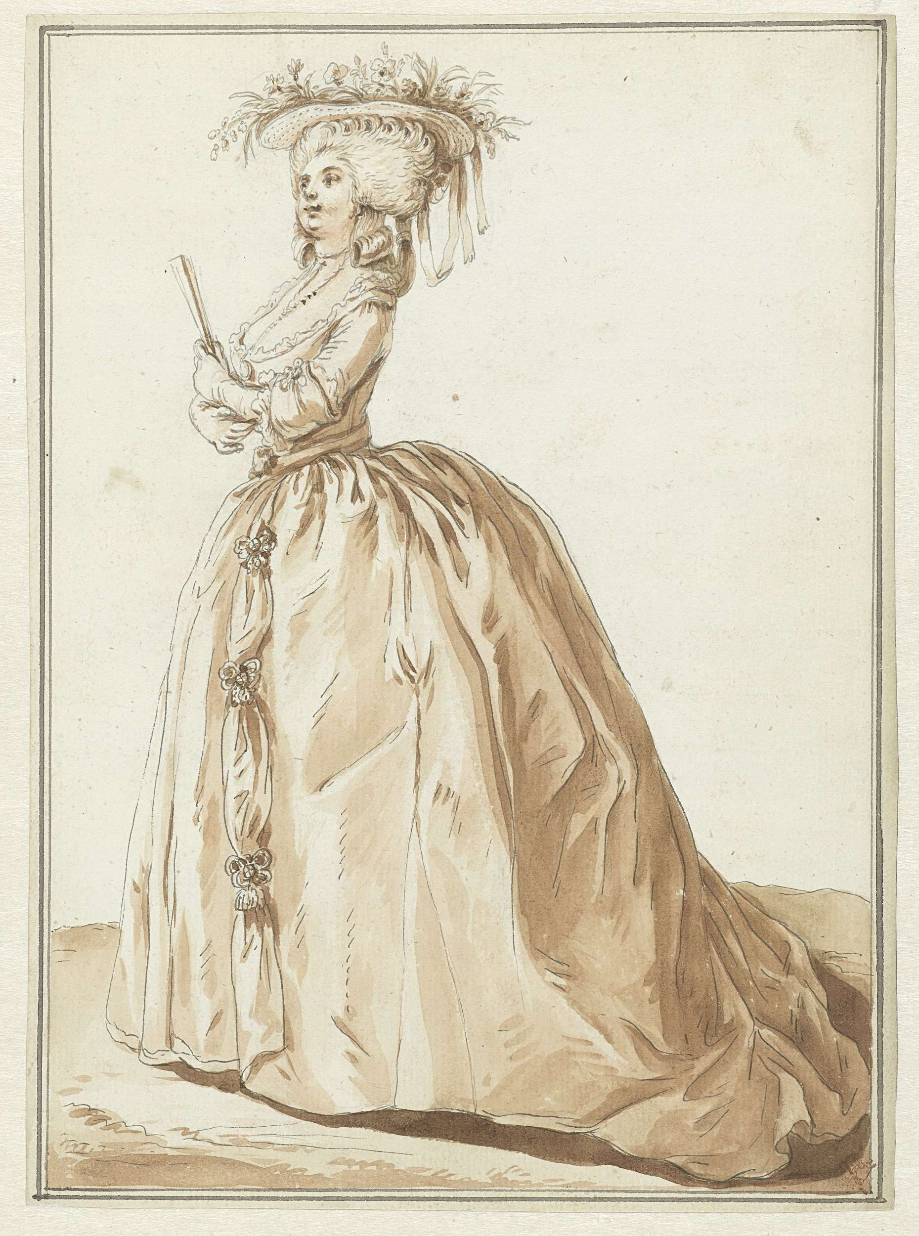 Staande dame met waaier, Pierre Thomas Le Clerc, Claude-Nicolas Desrais, in or before 1784