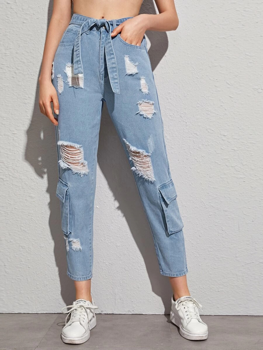 Aesthetic Ripped Mom Jeans
