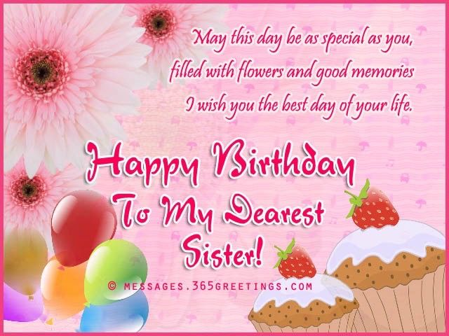 Birthday Greetings For Sister Happy Messages Quotes
