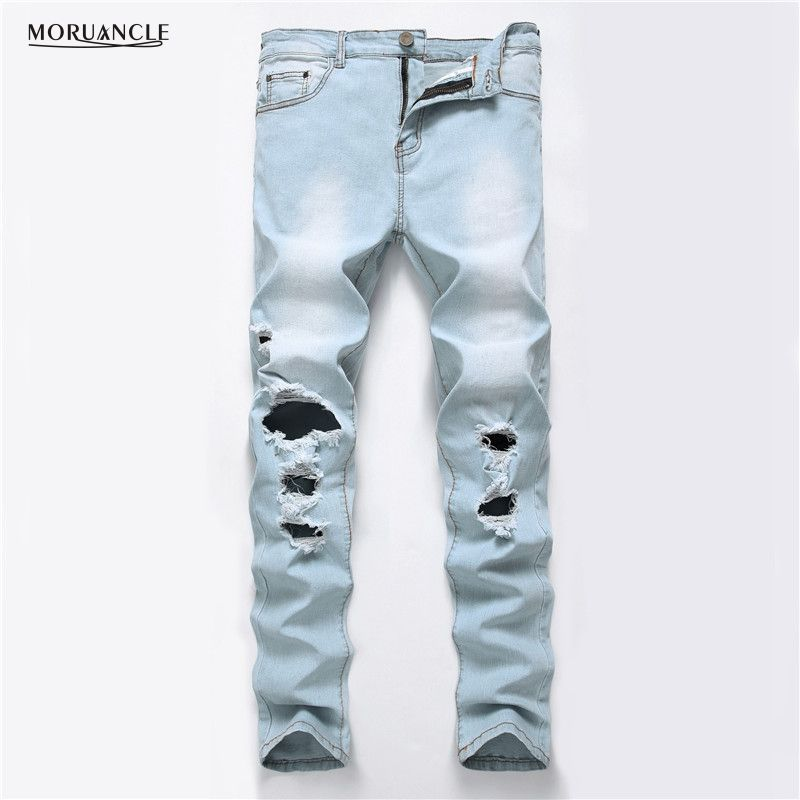 e79629bd9c9 Click to Buy    MORUANCLE New Fashion Men s Ripped Jeans Pants With Big.