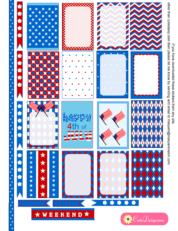 c159fea160f5a Free Printable 4th of July Stickers for Happy Planner | Planner ...