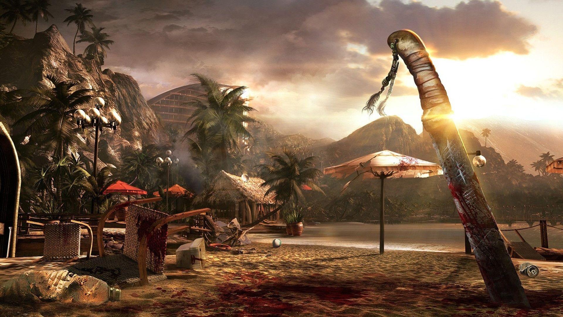 Wallpaper Dead Island Knife Blood Sunset Sand Download Image Pin