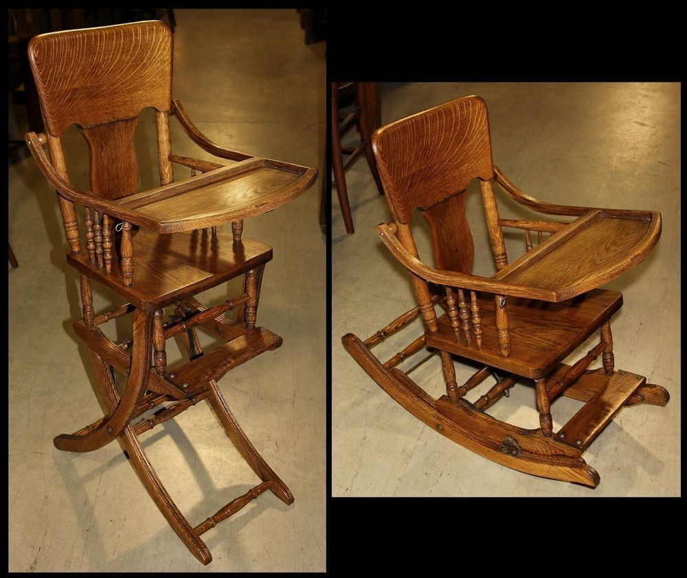 Antique oak wood baby high chair folds down to childs