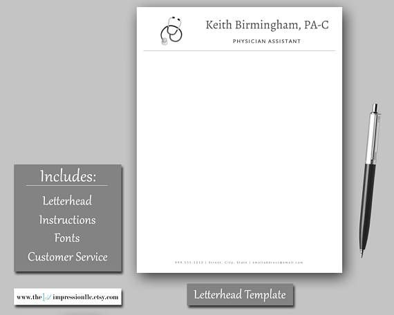 Stethoscope Letterhead Template Medical Printable Stationery - Medical Templates For Word