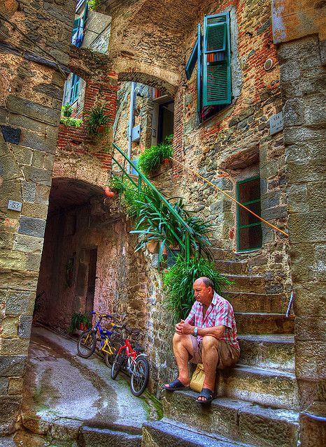 Local Man Relaxing ~ Corniglia, Cinque Terre, Italy