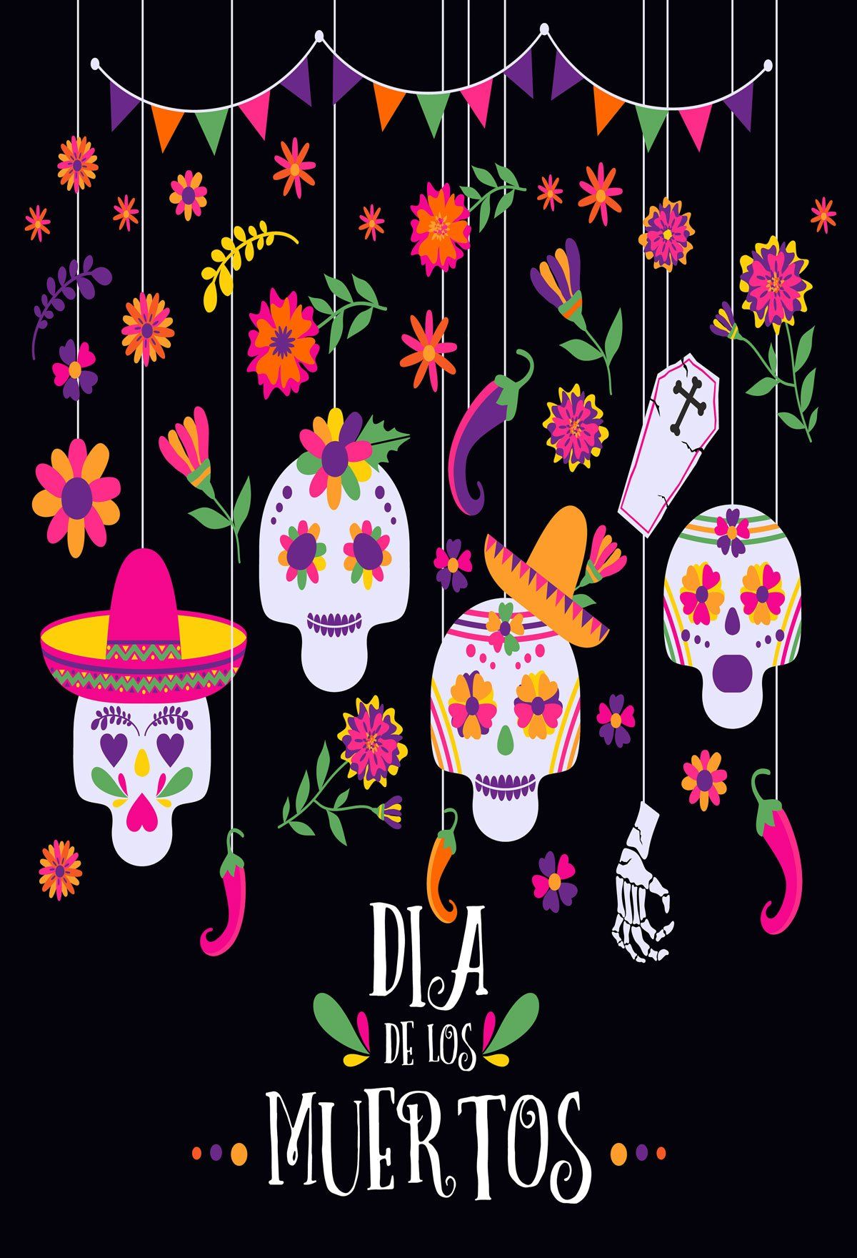 Kate Dia De Muertos Banners With Flowers And Skull For Photography