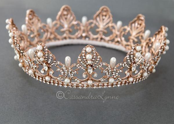 Full Circle Wedding Crown with Teardrop Pearls - #Circle #Crown #Full #gold #Pearls #Teardrop #wedding #weddingcrown