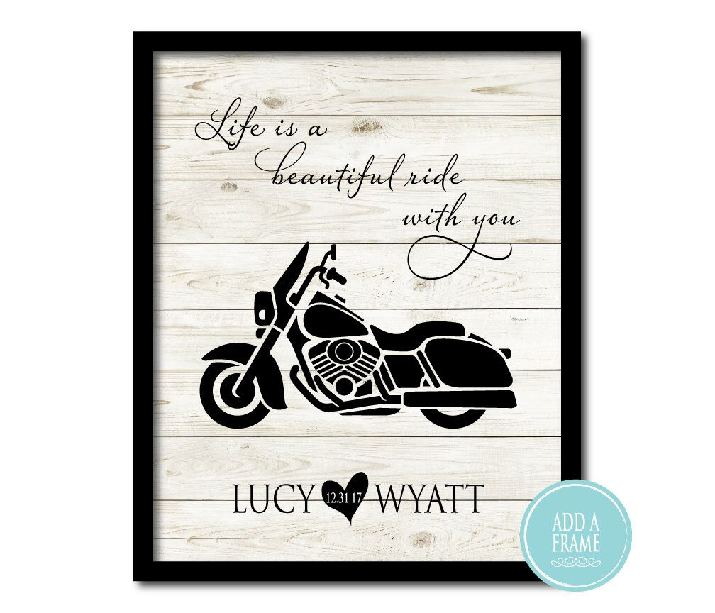 Personalized Wedding Art Life Is A Beautiful Ride Motorcycle Etsy Personalized Wedding Art Motorcycle Wedding Wedding Wall Art
