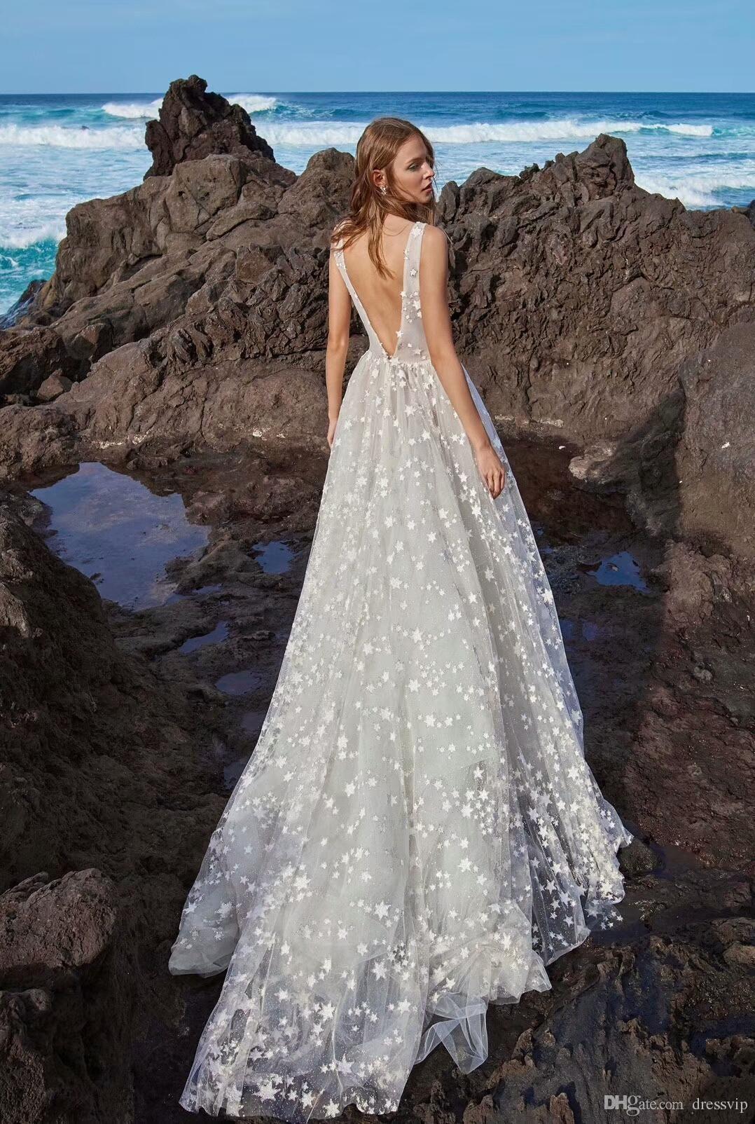 A Line Bohemian Wedding Dresses Deep V Neck Backless Sleeveless