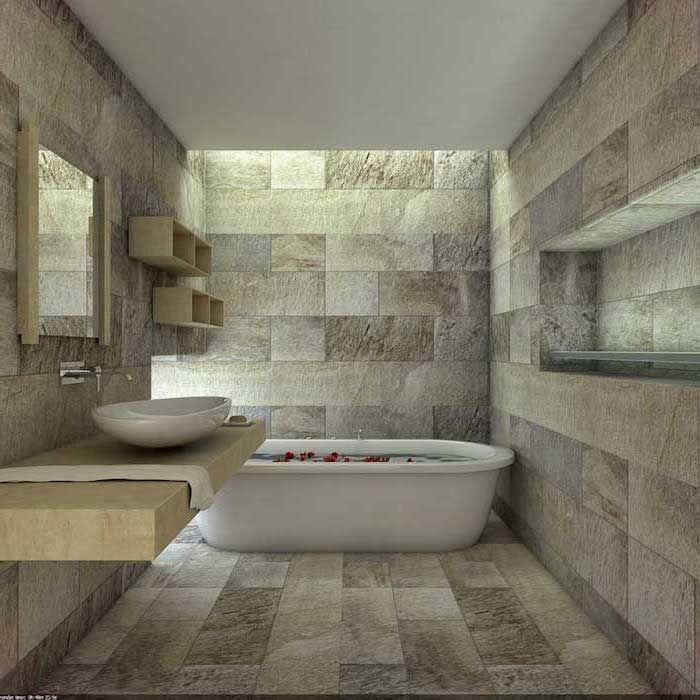 bunte Fliesen im Badezimmer Design Fußboden weiße Badewanne und