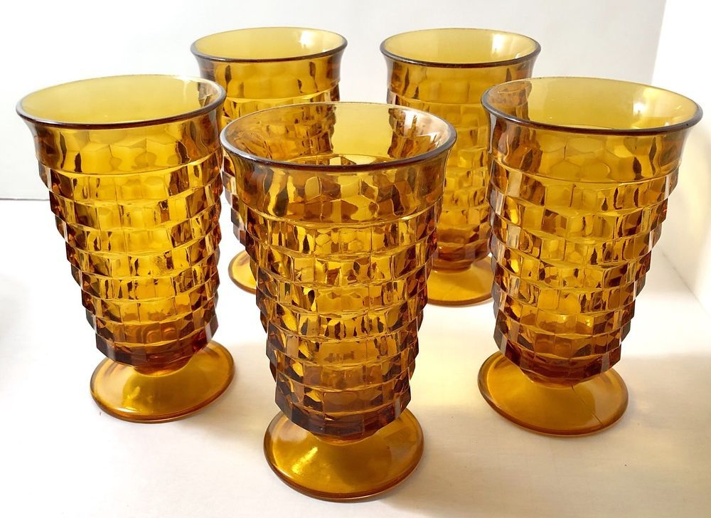 a3fd0ad7380 Amber Indiana Glass Whitehall Colony Cubist Footed Glasses Set Of 5 ...