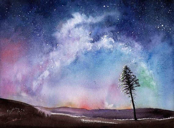 Space Art Print Watercolor Landscape Night Sky Art Aurora Borealis Watercolor Universe Watercolor Tree Starry Night Nebula Painting Watercolor Night Sky Night Sky Painting Night Sky Art