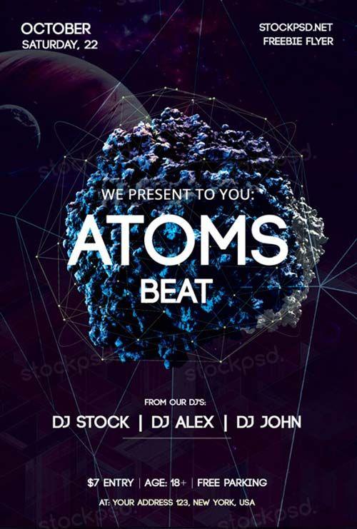 futuristic atoms beat free psd flyer template free psd flyer templates flyer free club