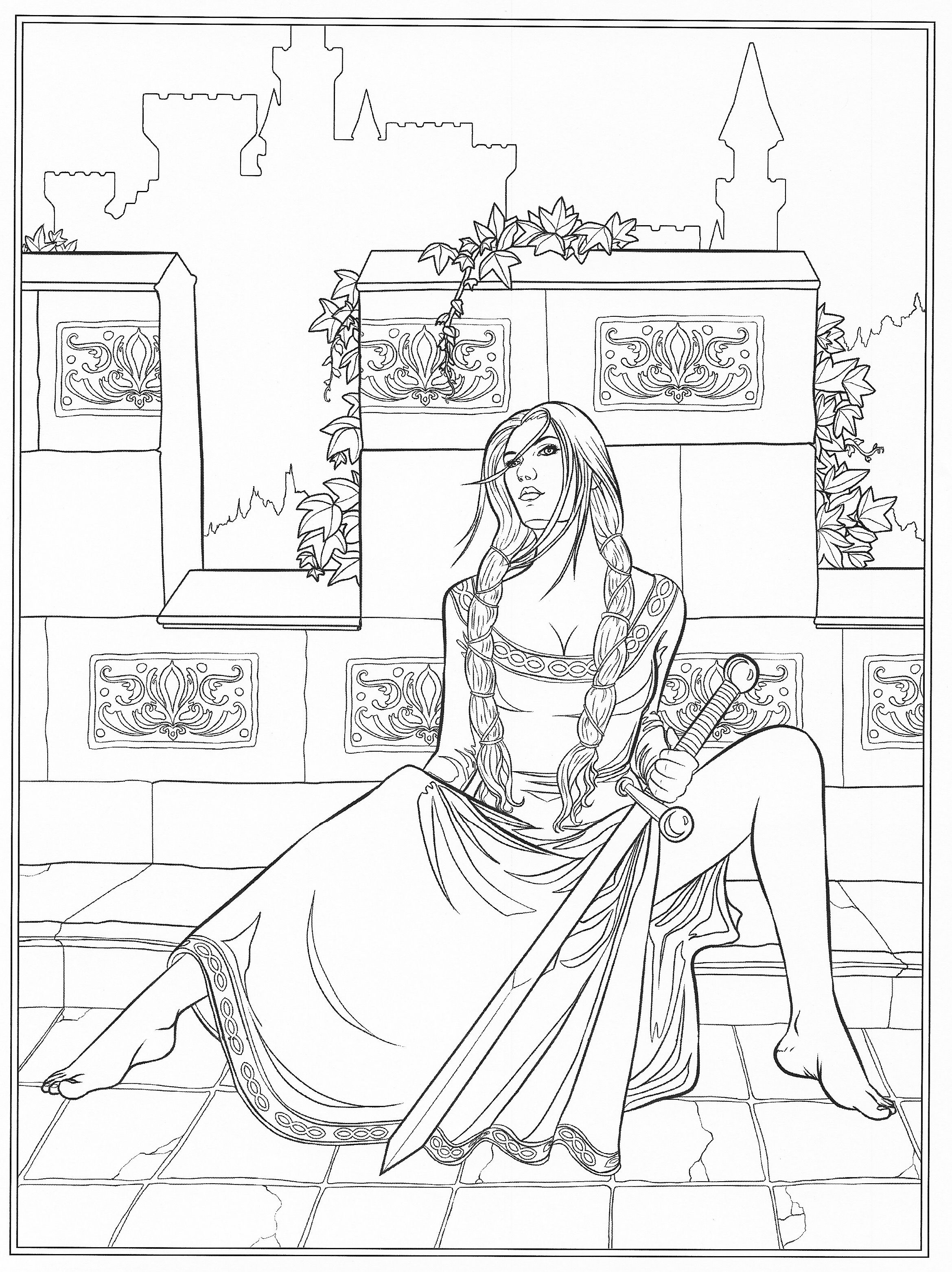Gothic coloring page | Fantasy Coloring Pages for Adults ...