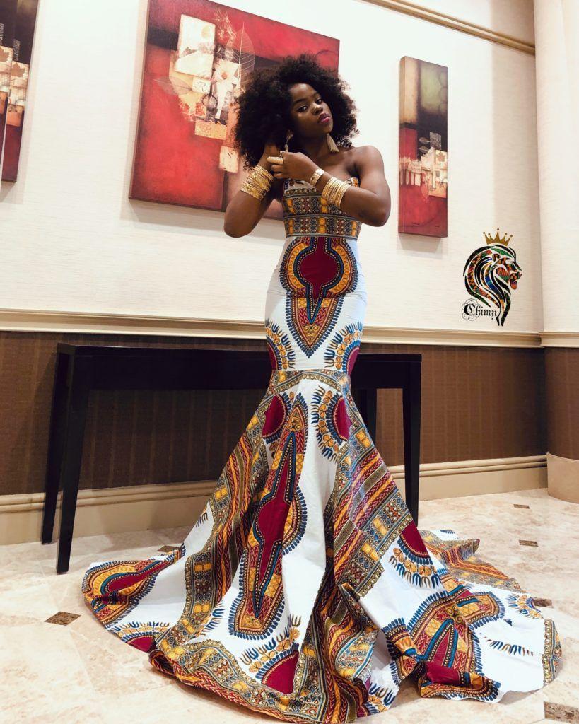 Dashki Fabric African Fashion Ankara Kitenge African: Queen Oriaku Women's Mermaid Dress In African Ankara