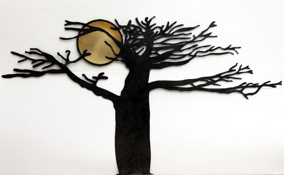 D coration murale en acier noir et laiton bross for Decoration murale laiton