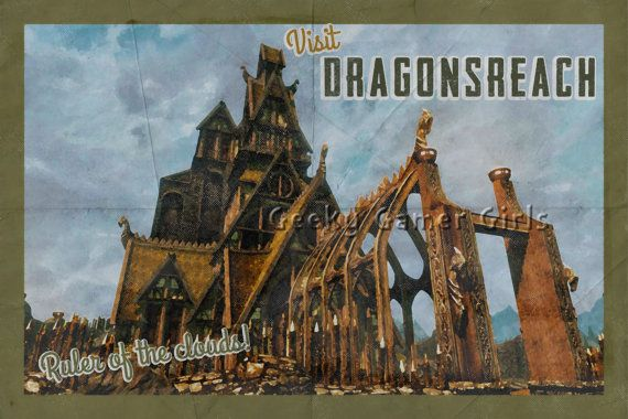 Skyrim Poster   Dragonsreach travel poster   Vintage travel poster   Videogame art  Ruler of the clouds! This is the newest in my video game Travel Poster line. They are made to look like vintage travel posters with a painted look and halftone elements. It is grunged and folded. No affiliation with Bethesda. This is just my tribute to how much I love the game.  Please note colors may vary slightly due to different monitors. This listing is for the print only, frame is not included. There…