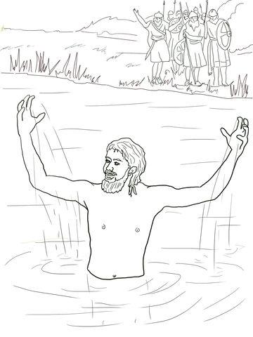 Elisha Heals Naaman coloring page from Prophet Elisha