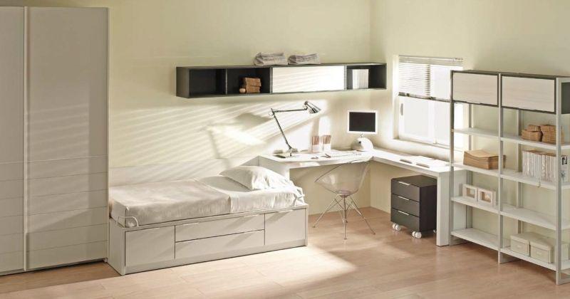 dormitorio juvenil, compacta cajones, armario correderas y librerías ...