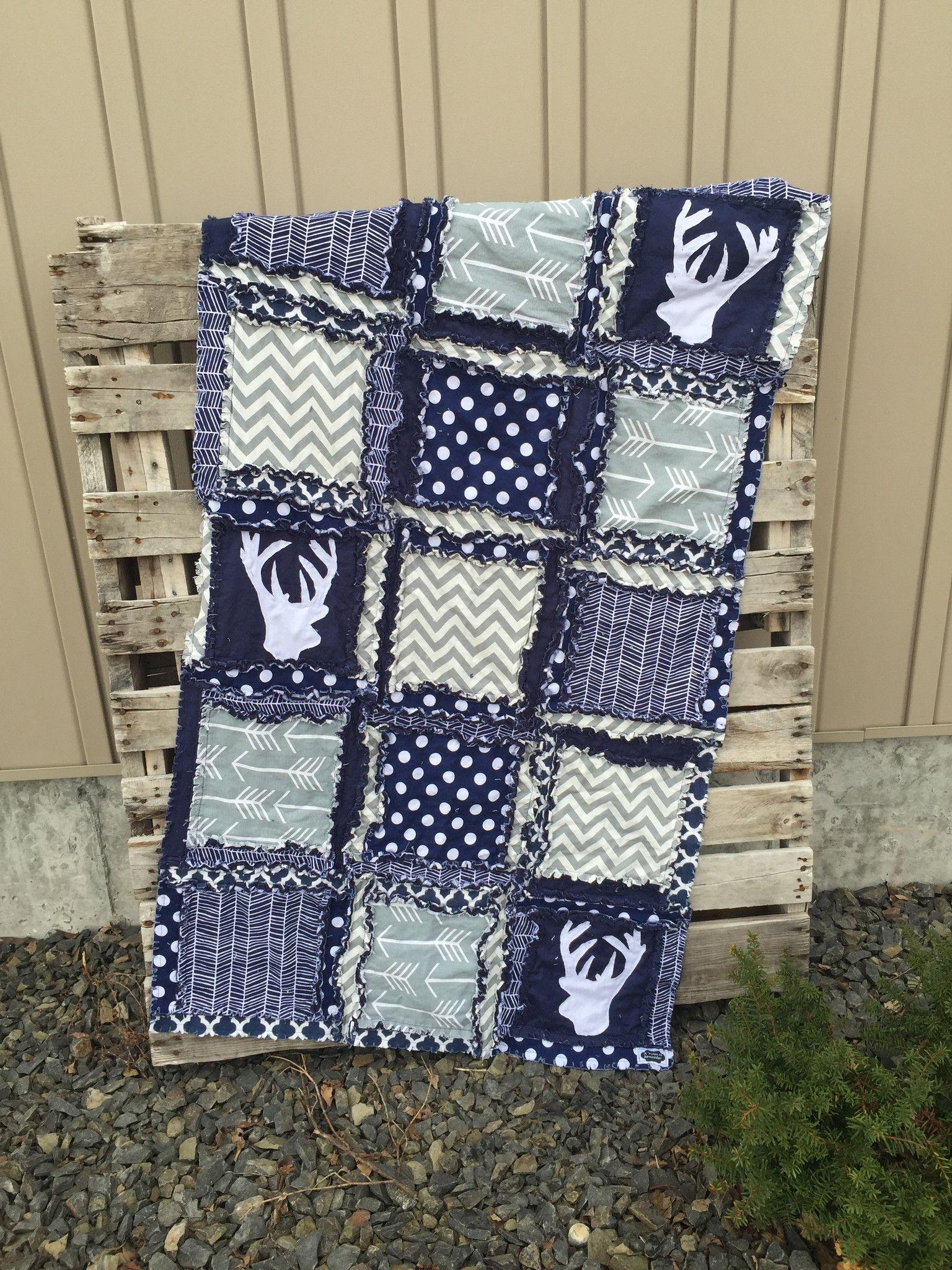Rag Quilt Deer Woodland Baby Boy Crib Bedding For Nursery
