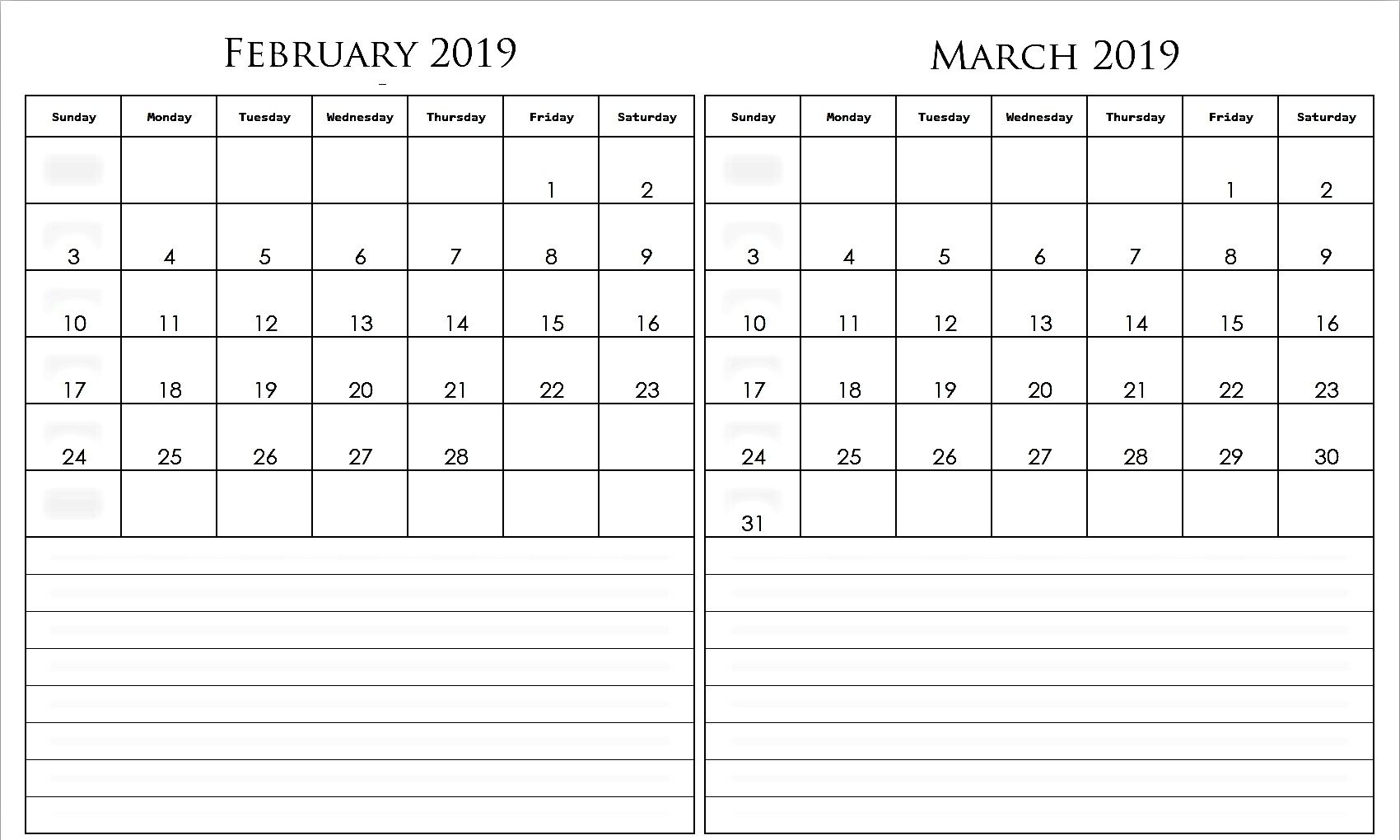 graphic about Printable 2 Month Calendar titled 2 Thirty day period February March 2019 Calendar Free of charge Printable