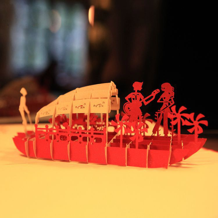 Romantic lover boat handmade kirigami origami 3d pop up greeting romantic lover boat handmade kirigami origami 3d pop up greeting cards for wedding m4hsunfo Images
