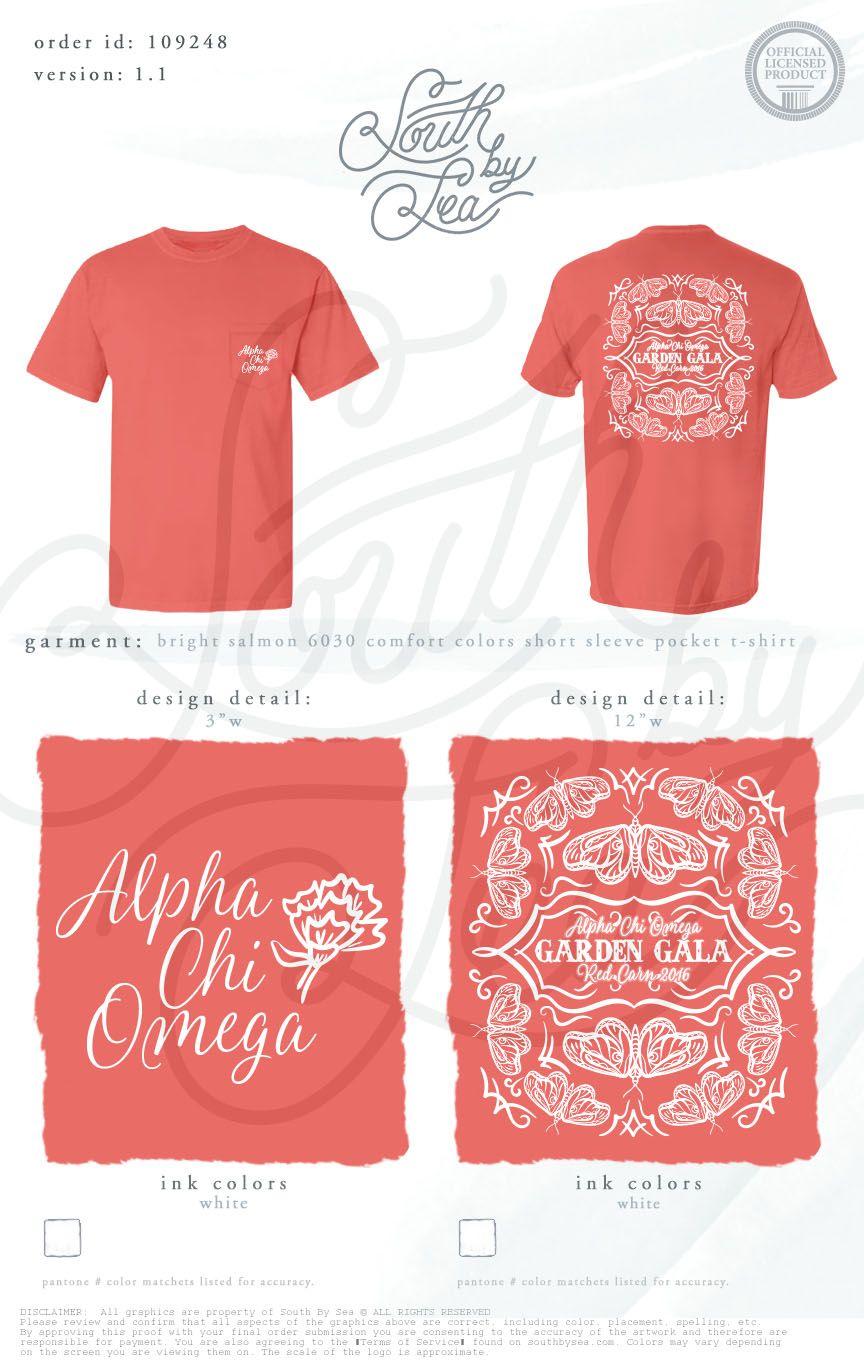 Alpha Chi Omega | Garden Gala | Hand Drawn T-Shirt Design | South by Sea | Greek Tee Shirts | Greek Tank Tops | Custom Apparel Design | Custom Greek Apparel | Sorority Tee Shirts | Sorority Tanks | Sorority Shirt Designs