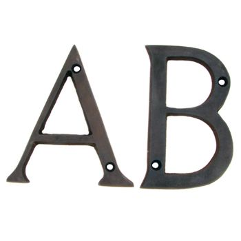1 Inch Metal Letters 4 Inch Solid Brass Dark Oil Rubbed Bronze Finish House Letters .