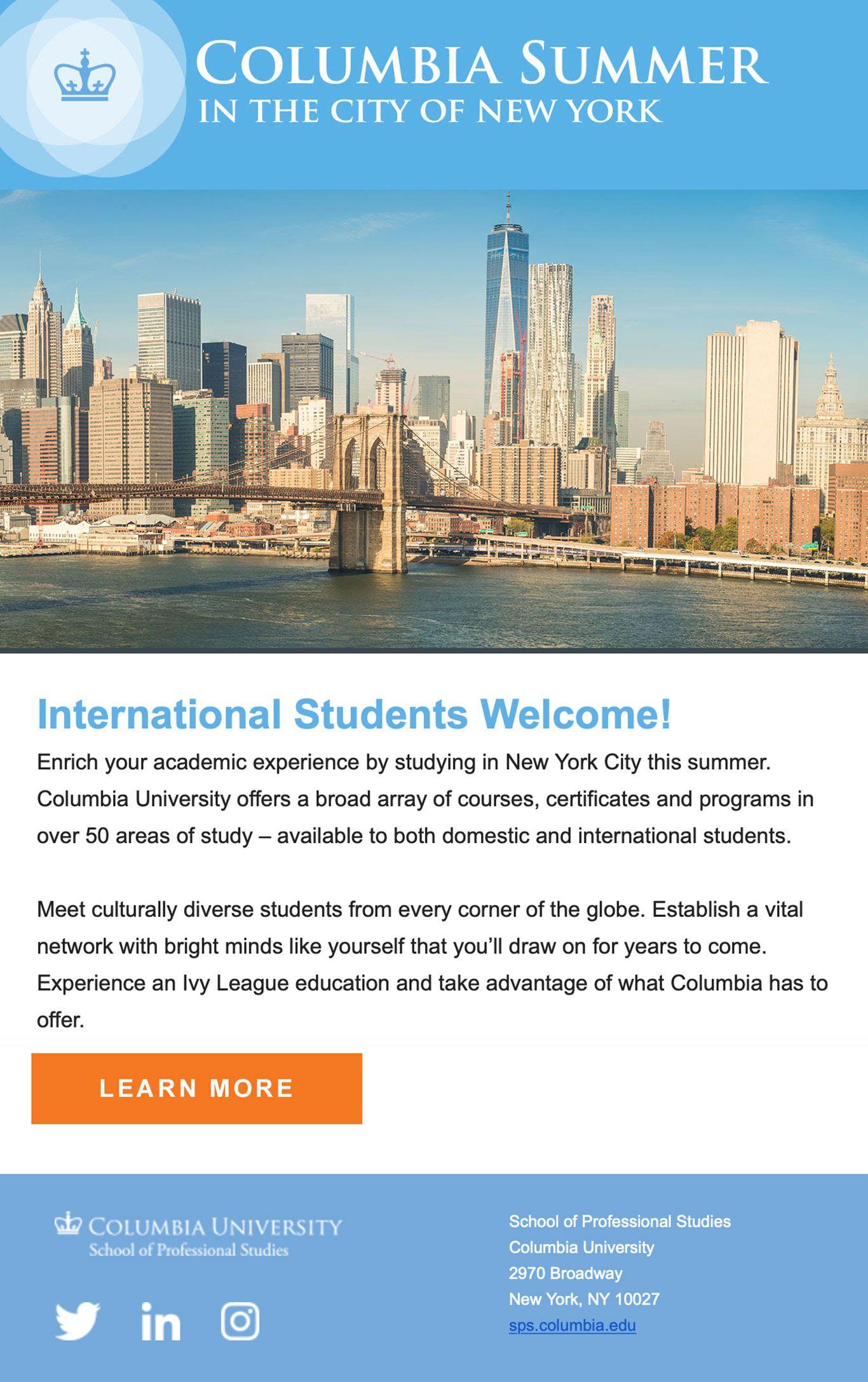 Email Marketing Sample for Columbia University Image