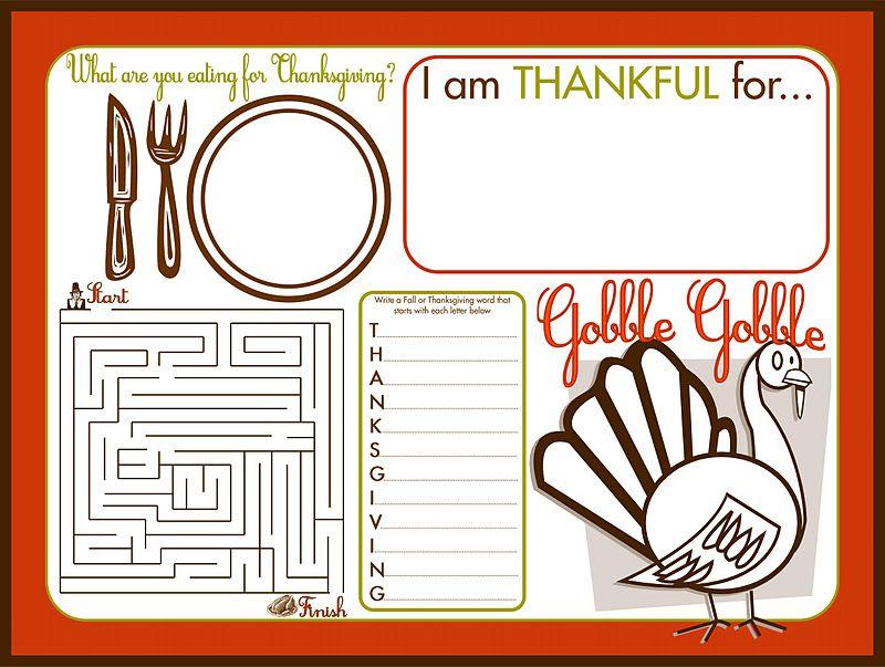 Free Printable Thanksgiving Gathering Printable Set Recipes Craft Tuto Thanksgiving Placemats Free Thanksgiving Printables Thanksgiving Activities For Kids