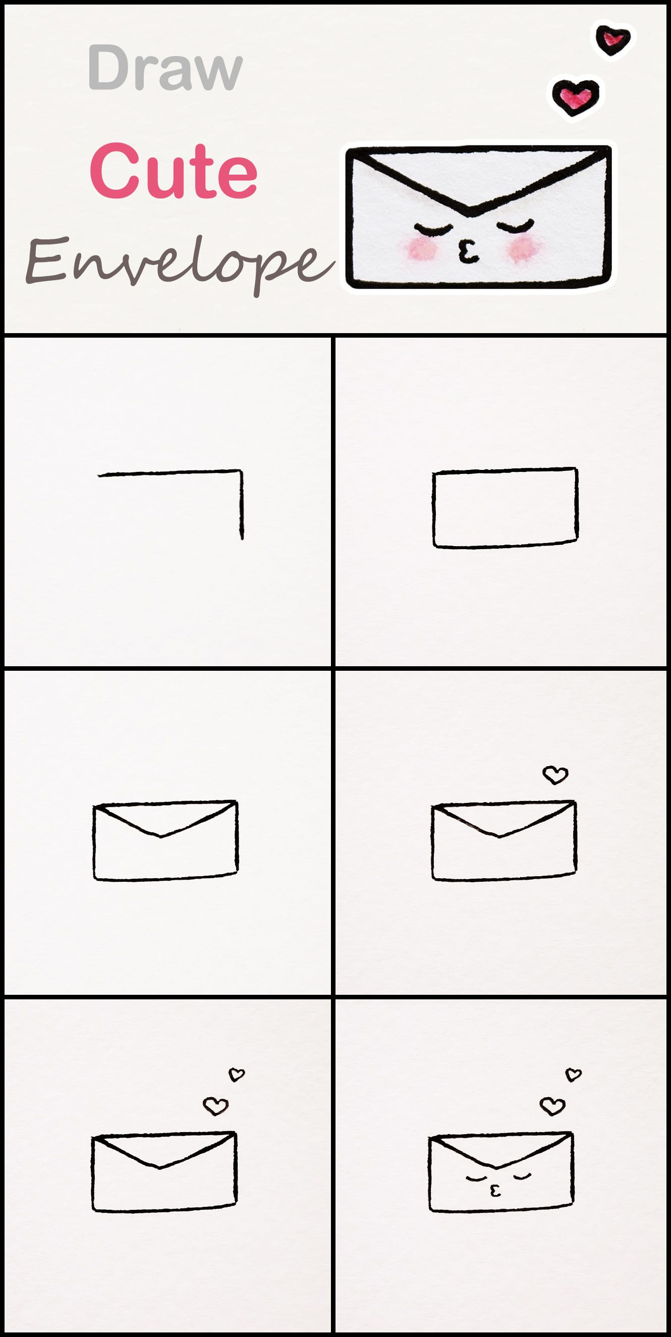 Learn how to draw a cute Envelope step by step ♥ very ...