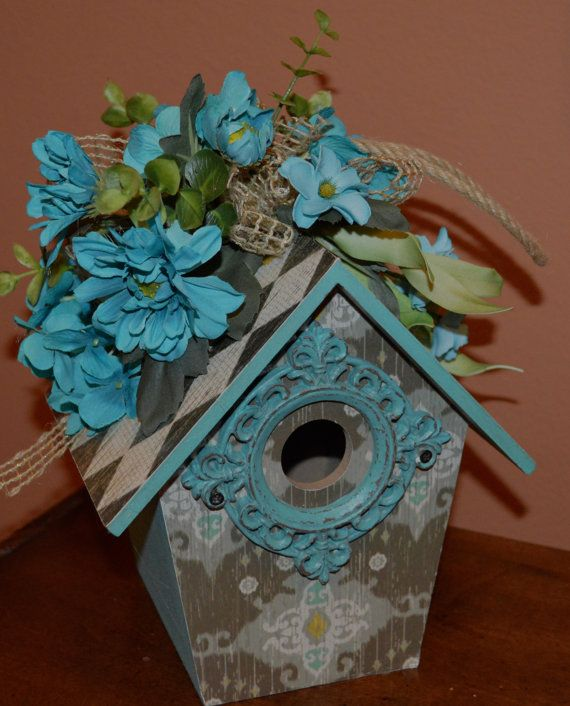 Birdhouse Hanging Birdhouse Turquoise by TheBloomingWreath on Etsy, $36.99