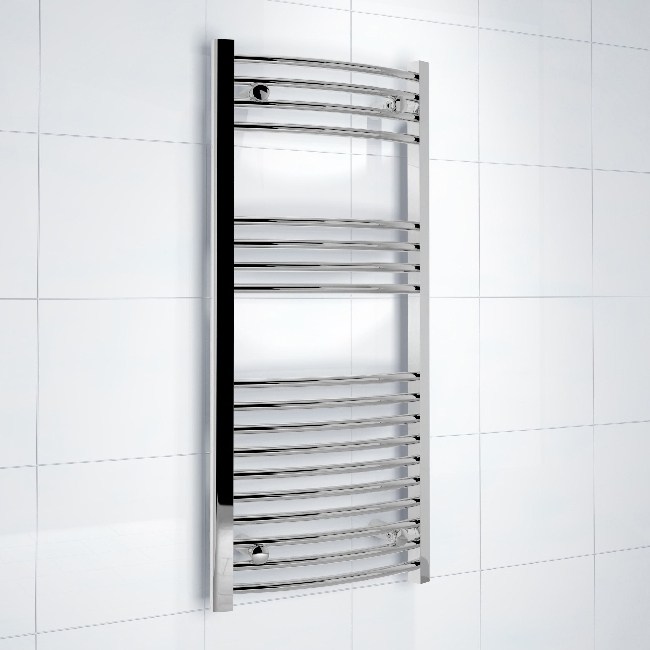 Kudox Electric Silver Towel Rail H 1000mm W 450mm: This Classic Silver Vertical Radiator Is Ideal For A