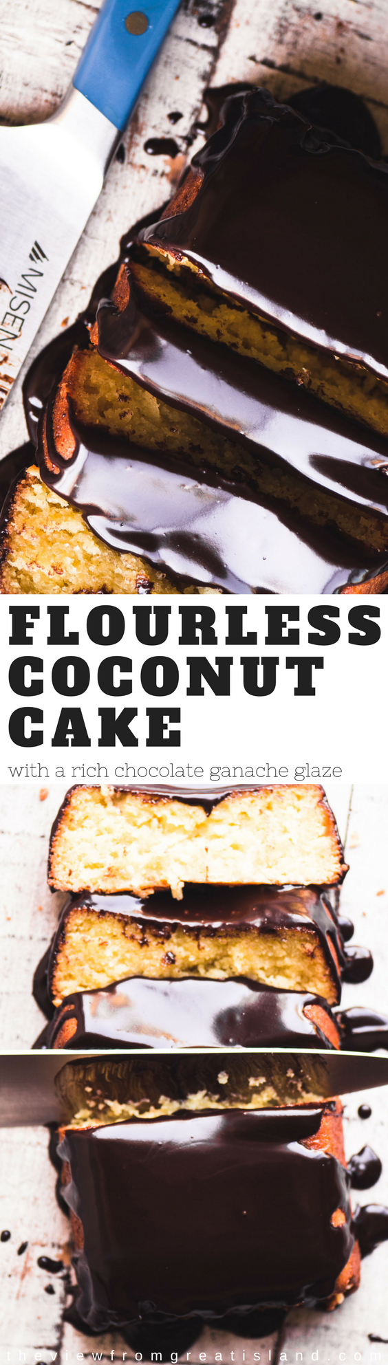 Yotam Ottolenghi's Flourless Coconut Cake ~ this super moist, super decadent pound cake is completely grain free and a must try, even if you aren't on a gluten free diet. #cake #glutenfreecake #flourlesscake #coconutcake #ottolenghi #dessert #poundcake #ganache #easycoconutcake #chocolatecake #chocolate