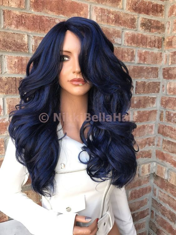 Blue Thick Human Hair Blend Multi Parting 26 Hair Extensions Wig