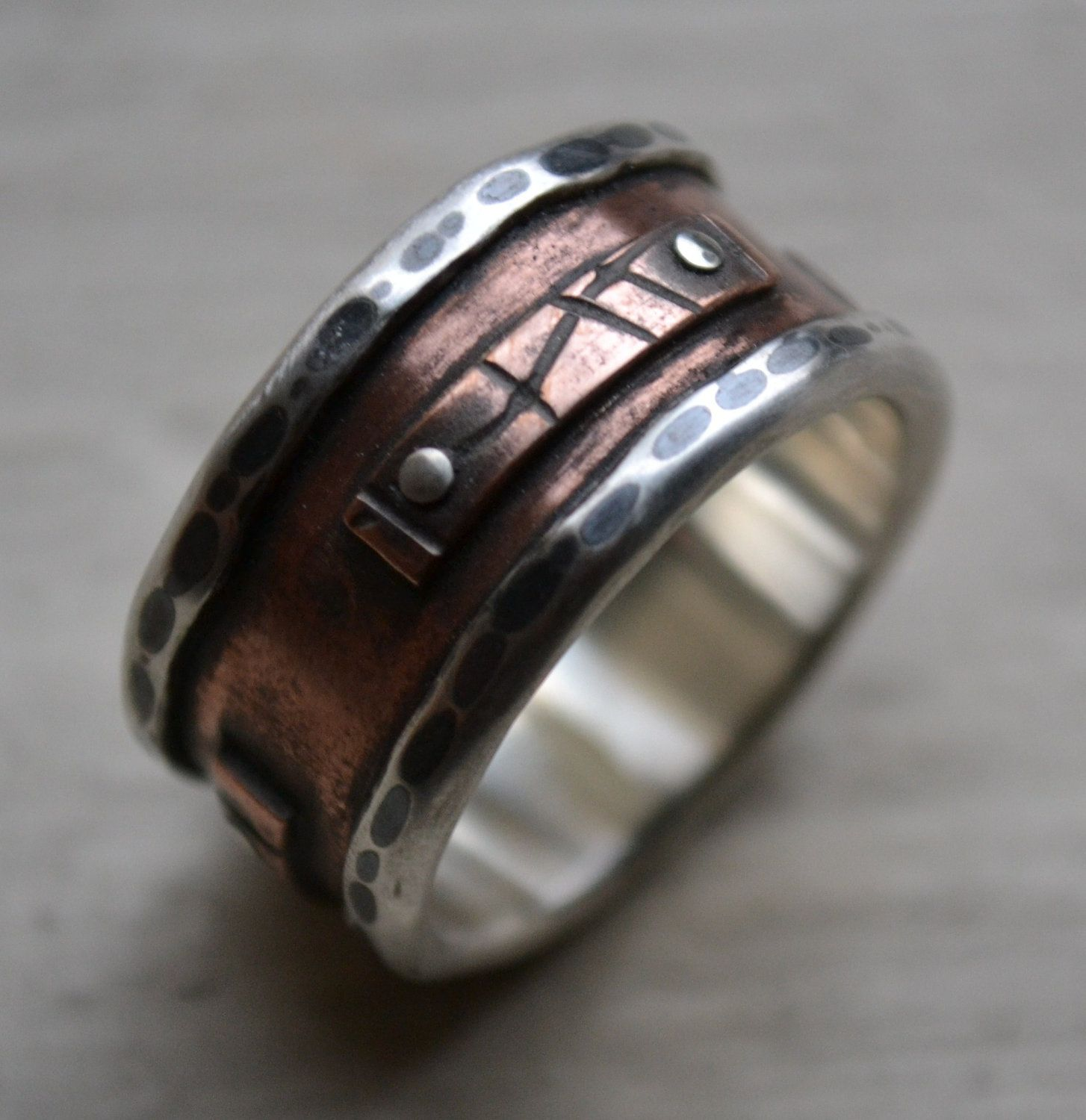 mens wedding band - rustic fine silver and copper oxidized