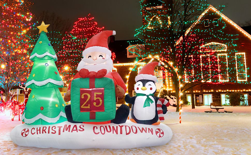 Meland Inflatable Christmas Decorations With Xmas Tree Santa Claus Amp Penguin Inflatable Christmas Decorations Christmas Decorations Inflatable Decorations
