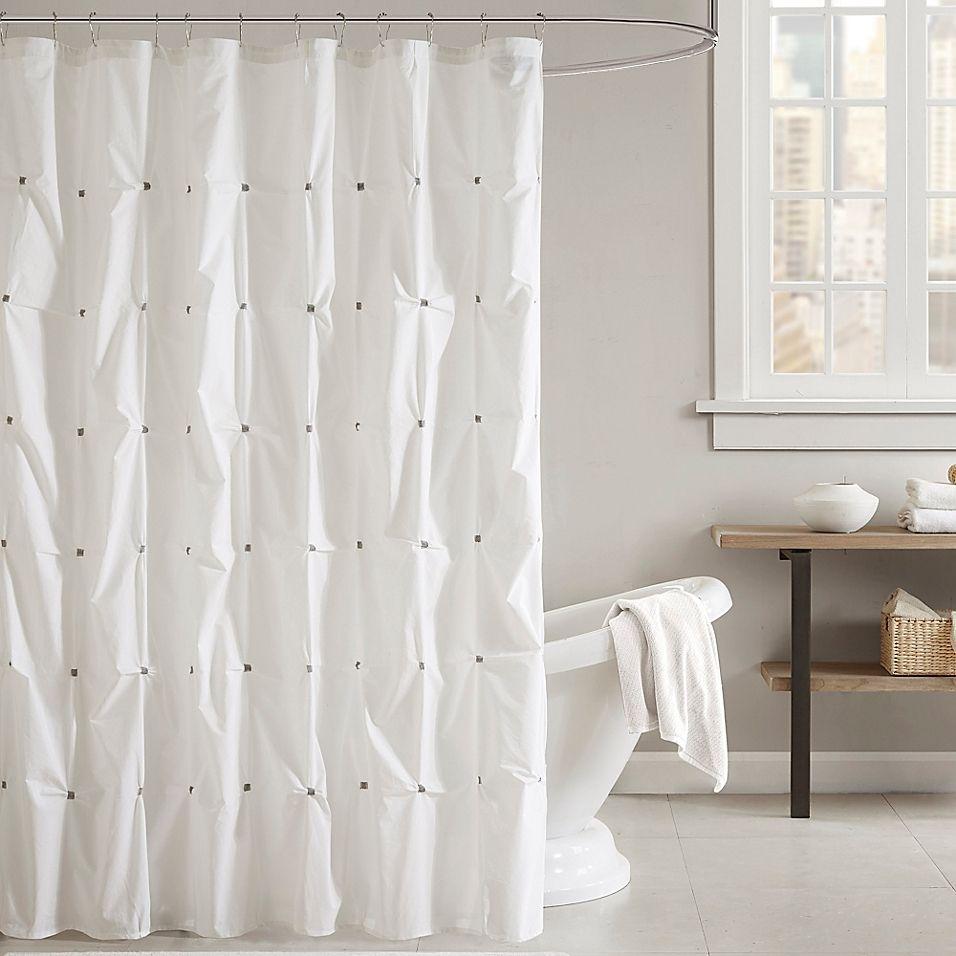 Ink Ivy Masie Shower Curtain In White Bed Bath Beyond Cotton Shower Curtain Shower Curtain White Shower Curtain Ink and ivy shower curtain
