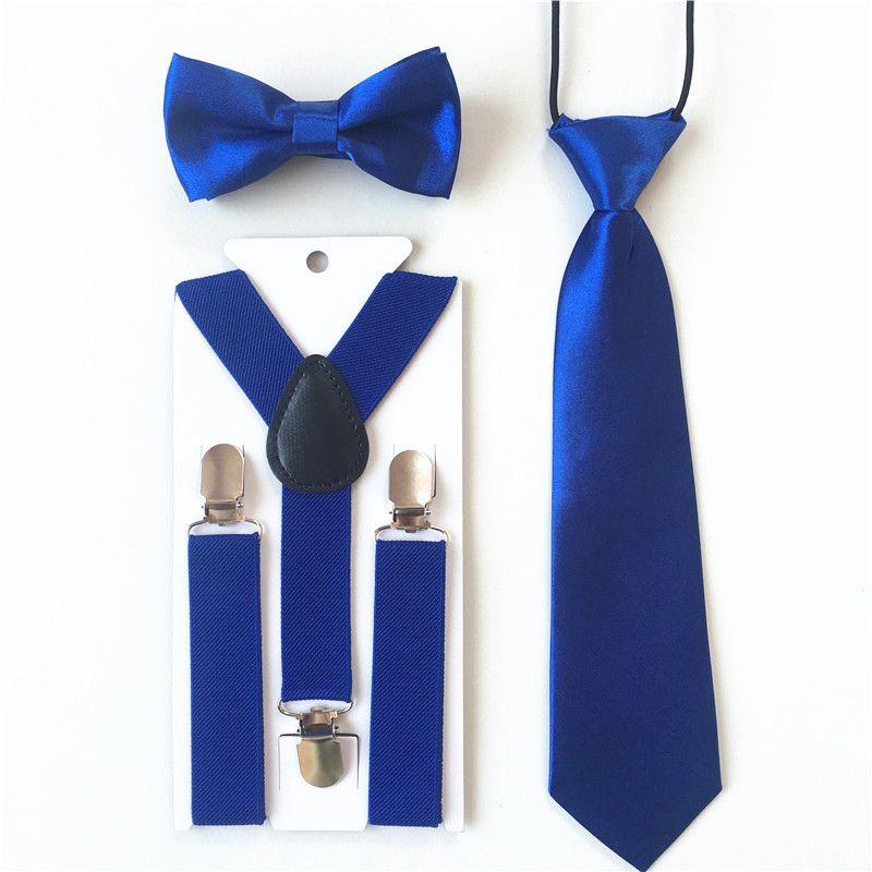 New Kid/'s Boy/'s Suspender elastic strap clip on/_bowtie /& hankie Red