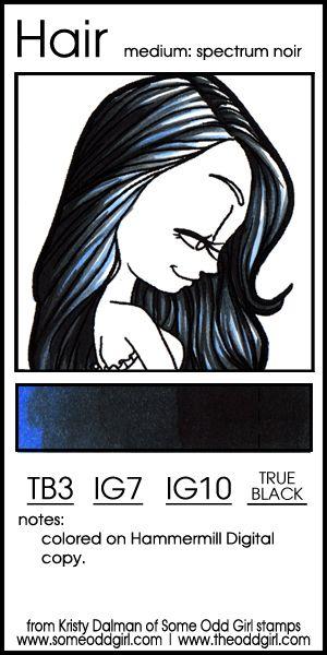 Color Swatch: Hair Color Combo 2, Blue-Black Hair   Alkohol und Stifte