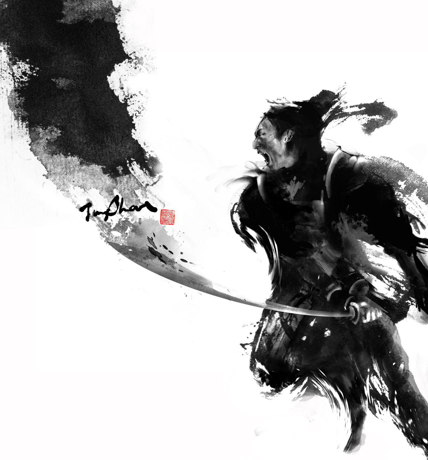 this samurai ink art is powerful yet graceful ink art