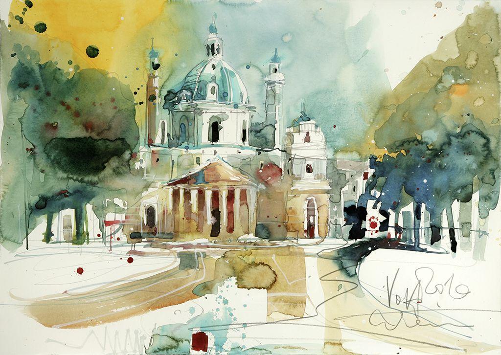Vienna Karlskirche 50x70 Cm 19 7 X 27 6 Inch Water Colour