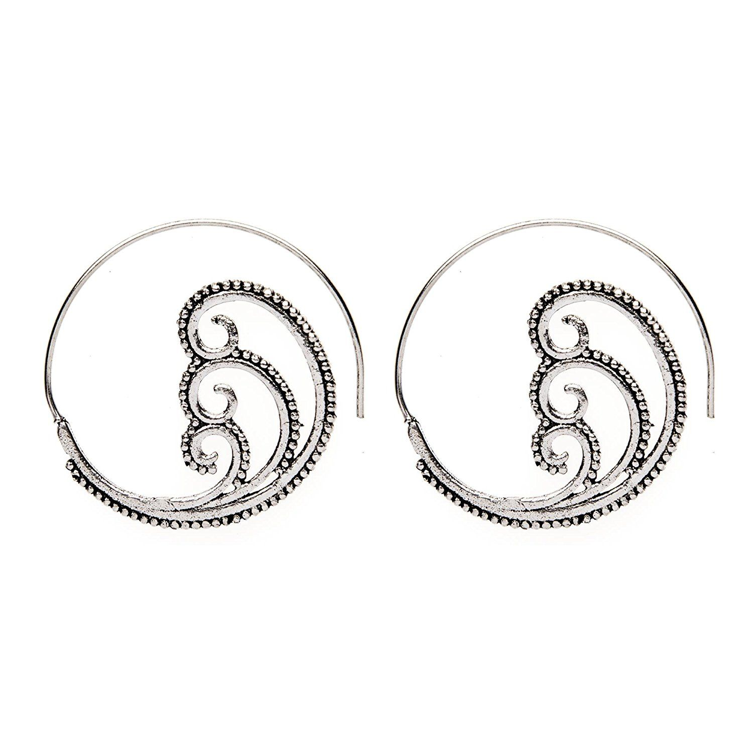 81stgeneration Women's Brass Silver Tone Spiral Swirl Dotwork Tribal Ethnic Earrings >>> To view further for this item, visit the image link. (This is an affiliate link and I receive a commission for the sales)