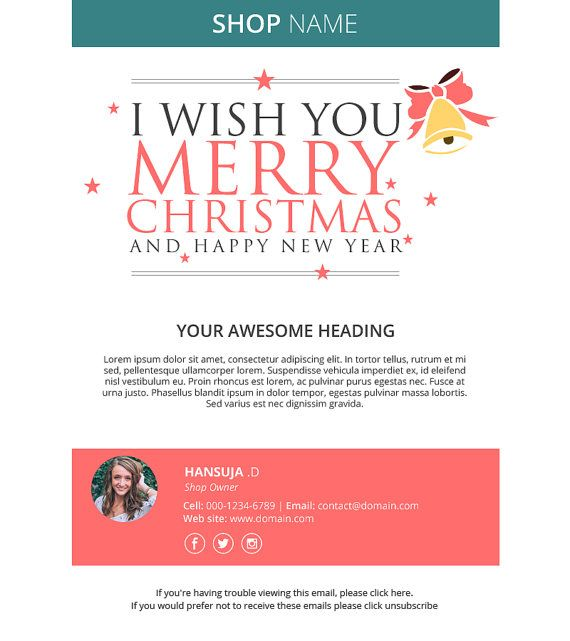 Christmas Email Template Responsive Html Email Mailchimp Email Newsletter Template M Email Christmas Cards Holiday Card Template Free Holiday Card Templates