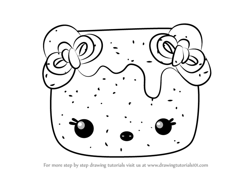 Learn How To Draw Sugar Nana From Num Noms Num Noms Step By Step Drawing Tutorials Cute Coloring Pages Drawings Coloring Books