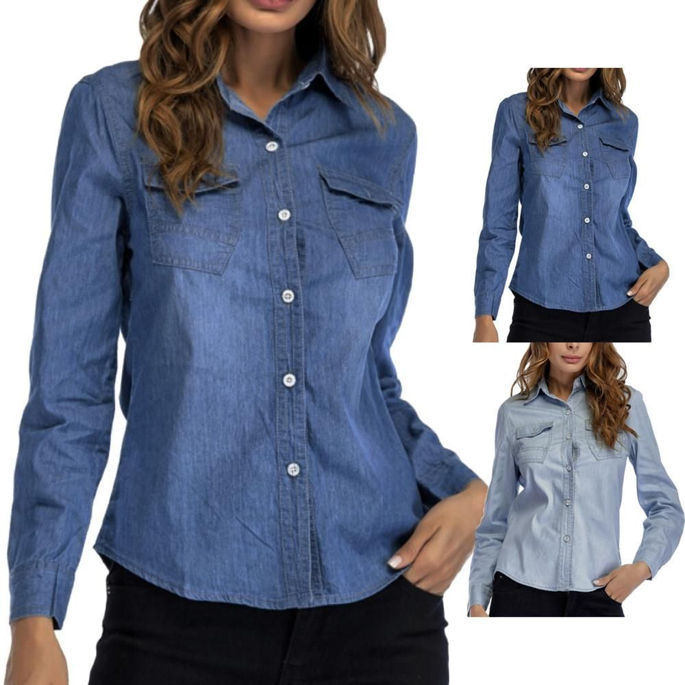 55fc75ec44a8c Women Denim Shirt Fashion Style Long Sleeve Casual Shirts Women Blouse Tops  Features  1.It is made of high quality materials