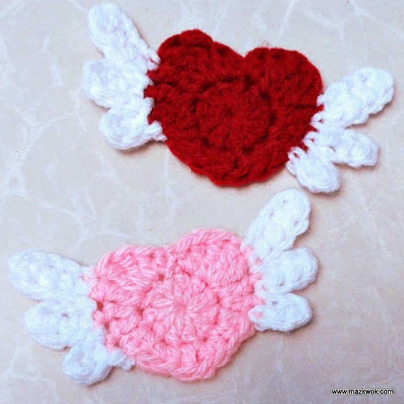 Flying heart applique - free crochet pattern | Velentine\'s Day / St ...