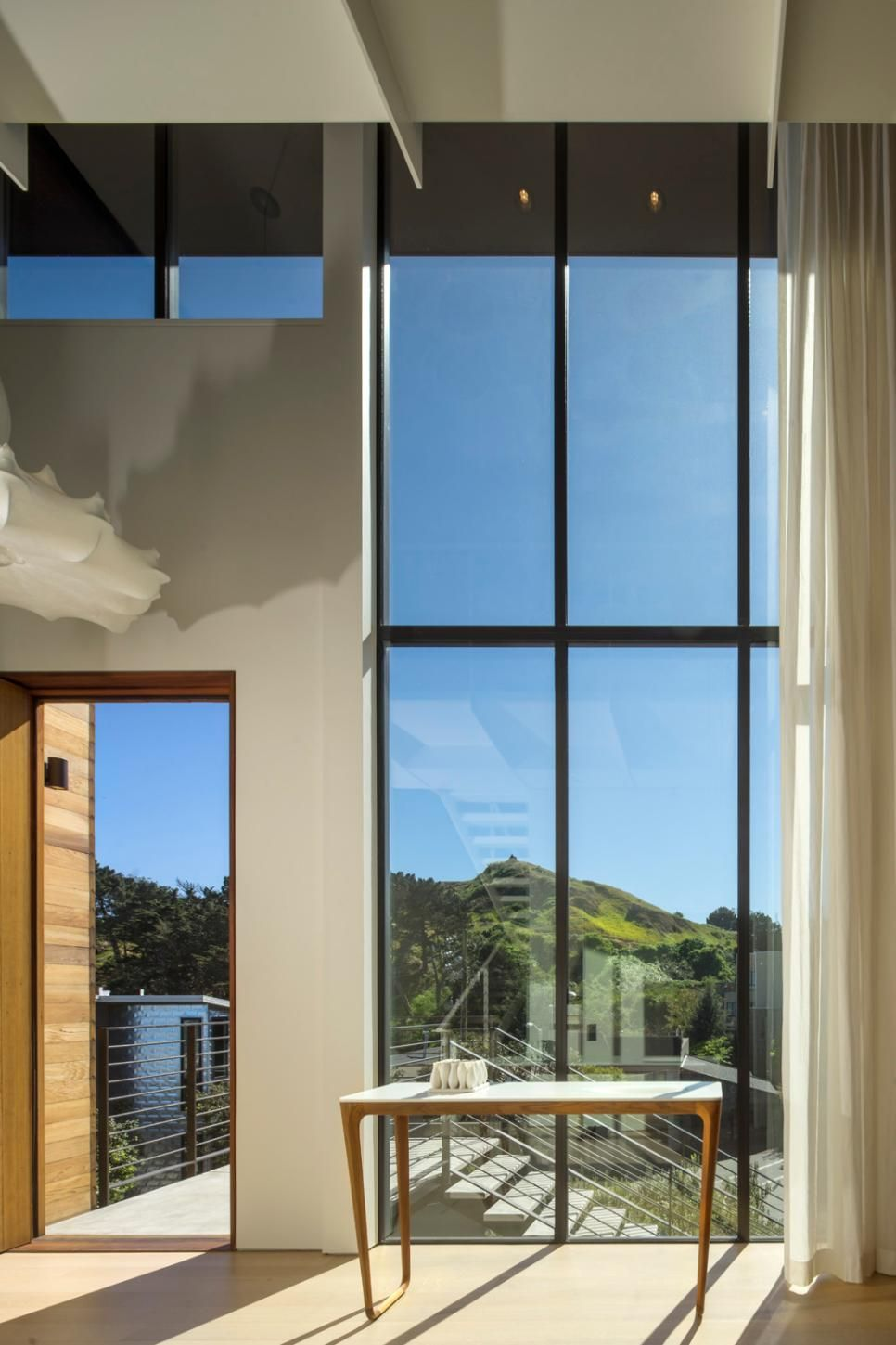 Modern Wood & Glass Home Near San Francisco | Sheer curtains ...
