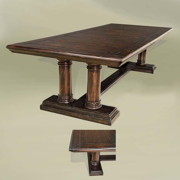 Sonoma Rustic Pedestal Dining Table Western Dining Tables Rectangular 108 Inch Dining Table With Distr Dining Table Pedestal Dining Table Walnut Dining Table
